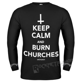tričko pánske s dlhým rukávom AMENOMEN - KEEP CALM AND BURN CHURCHES, AMENOMEN