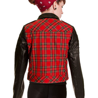 bunda dámska jarno/jesenná BANNED - Red Tartan Faux Leather, BANNED