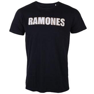 tričko pánske Ramones - Logo & Seal Applique Slub - ROCK OFF, ROCK OFF, Ramones