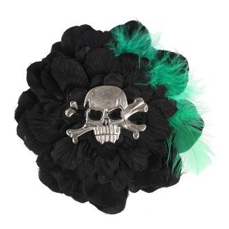 sponka do vlasov Skull - Black / Green
