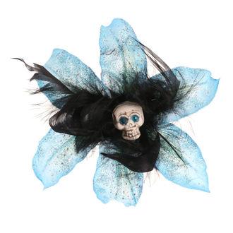 sponka do vlasov Skull - Flower - Turquise