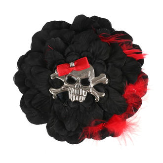 sponka do vlasov Skull - Black / Red Bow