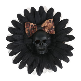 sponka do vlasov Skull - Black/Brown Bow