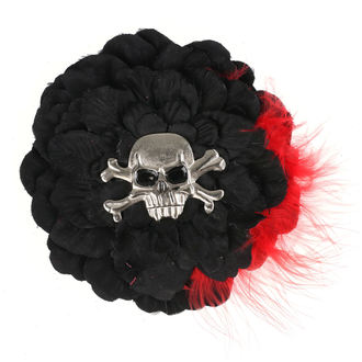 sponka do vlasov Skull - Black/ Red Feathers