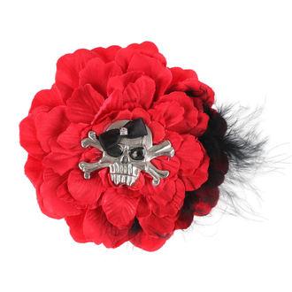 sponka do vlasov Skull - Red / Black Bow