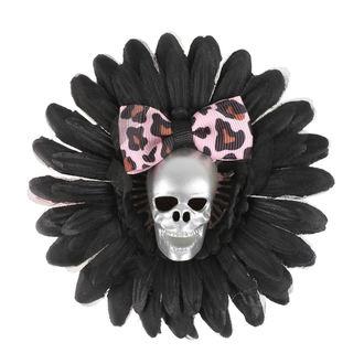 sponka do vlasov Skull - Black/Pink Bow