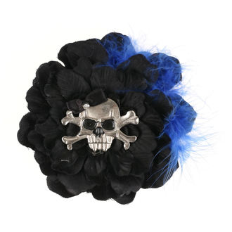 sponka do vlasov Skull - Black/Blue Feathers