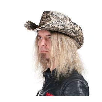 klobúk WORNSTAR - Hellrider HS Black & Natural Rocker Cowboy, WORNSTAR