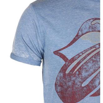 tričko pánske Rolling Stones- Vintage Tongue Burnout - Mid Blue - ROCK OFF, ROCK OFF, Rolling Stones