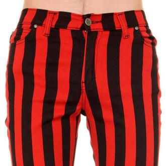 nohavice pánske 3RDAND56th - Stripe Skinny - Blk/Red - JM1105