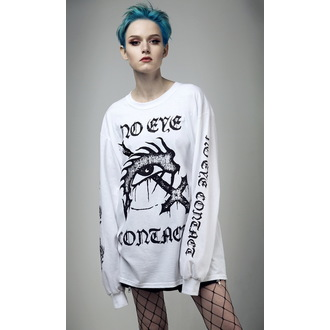 tričko s dlhým rukávom (unisex) DISTURBIA - No Eye Contact - White, DISTURBIA