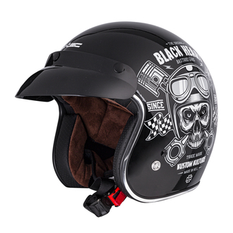 prilba BLACK HEART - PISTON SKULL - BLACK