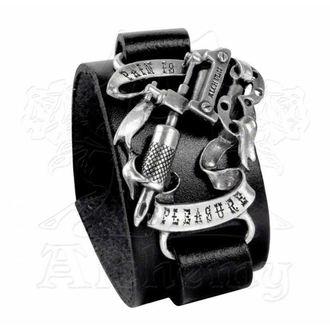 náramok Pain is Pleasure Leather Strap - ALCHEMY GOTHIC, ALCHEMY GOTHIC