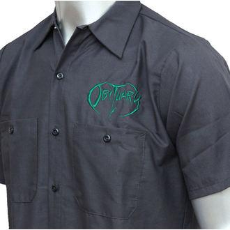 košele pánska Obituary - EMB Logo - Grn/Charcoal - JSR, Just Say Rock, Obituary