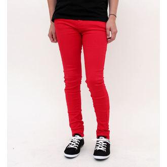 nohavice dámske HELL BUNNY - Super Skinny - Red, HELL BUNNY