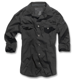 košele pánska Brandit - Men Shirt Slim - Black - 4005/2
