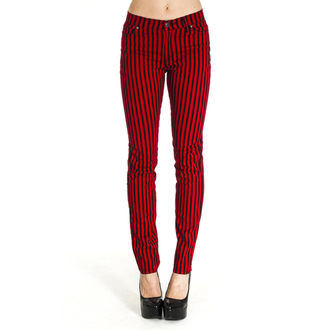 nohavice (unisex) 3RDAND56th - Striped Skinny Jeans - Blk/Red - JM1176