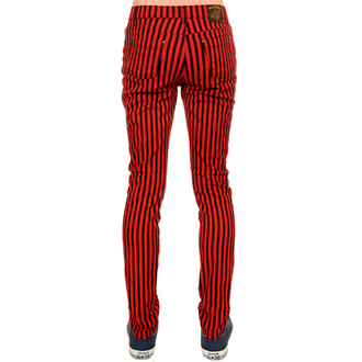 nohavice (unisex) 3RDAND56th - Striped Skinny Jeans - Blk/Red, 3RDAND56th