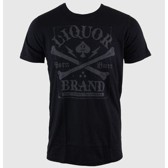 tričko pánske LIQUOR BRAND - Crossbones - Black