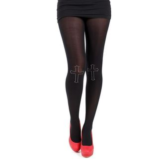pančucháče PAMELA MANN - 80 Denier Tights With Cross On Knee-Black, PAMELA MANN
