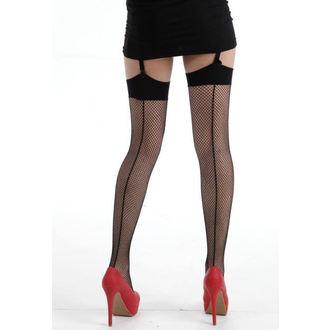 nadkolienky PAMELA MANN - Fishnet Seamed Stockings - Black, PAMELA MANN