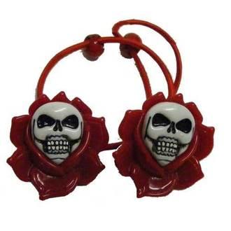 gumička do vlasov KREEPSVILLE SIX SIX SIX - Skull Rose - Red, KREEPSVILLE SIX SIX SIX