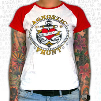 tričko dámske Agnostic Front - Anchor - Red / White - RAGEWEAR, RAGEWEAR, Agnostic Front