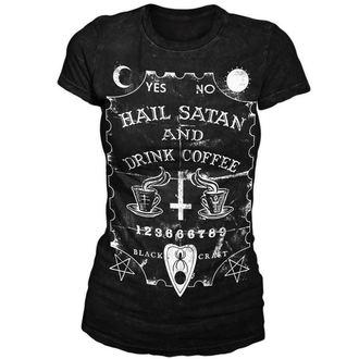 tričko dámske BLACK CRAFT - Hail Satan & Drink Coffee - Black