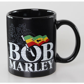 hrnček Bob Marley - Distressed Logo - Black - ROCK OFF, ROCK OFF, Bob Marley