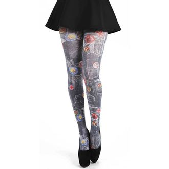pančucháče PAMELA MANN - Denim Rockabilly Printed Tights - Multi - 095