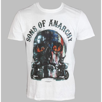 tričko pánska Sons Of Anarchy - Biker Skull - White - LIVE NATION