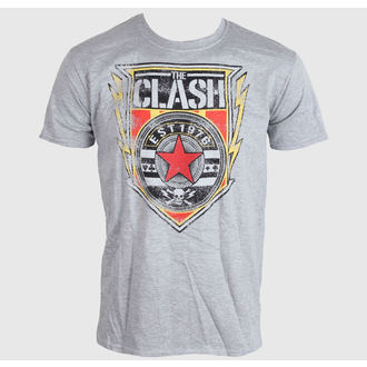 tričko pánske The Clash - Shield 1976 - Heather Grey, LIVE NATION, Clash