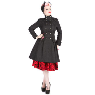 kabát dámsky jarno-jesenná HEARTS AND ROSES - Black Brocade Trench, HEARTS AND ROSES