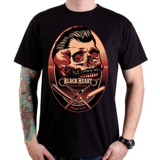 tričko pánske BLACK HEART - Barber Skull - Black - BH072