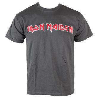 tričko pánske Iron Maiden - Classic Logo - Charcoal - ROCK OFF, ROCK OFF, Iron Maiden