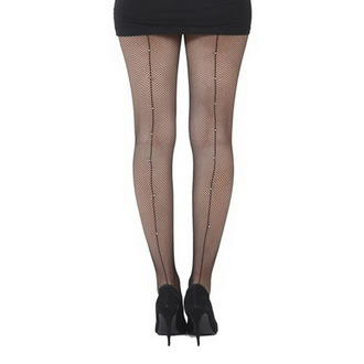 pančucháče PAMELA MANN - Fishnet Seamed Tights Black With Diamante Seam - Black, PAMELA MANN