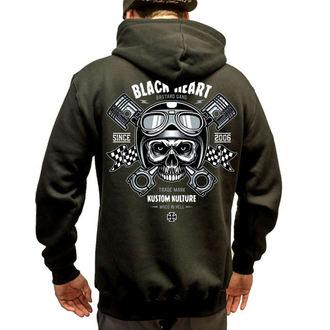 mikina pánska BLACK HEART - Piston Skull - BLK, BLACK HEART