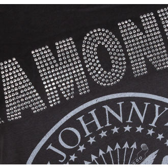 tričko dámske RAMONES - LOGO SILVER DIAMANTE - Charcoal - AMPLIFIED, AMPLIFIED, Ramones