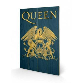 drevený obraz Queen - Crest, PYRAMID POSTERS, Queen