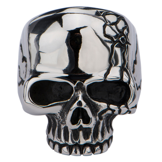 prsteň INOX - SKULL WITH CRACK, INOX