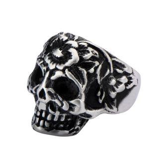 prsteň INOX - BLK FLOWER SKULL HEAD, INOX