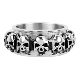 prsteň INOX - skulls around, INOX