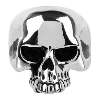 prsteň INOX - skull w/teethout, INOX