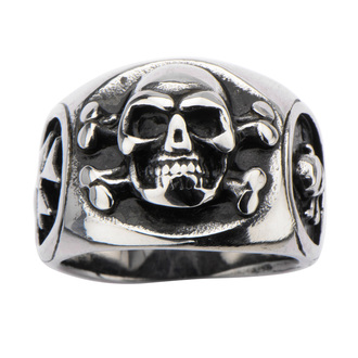 prsteň INOX - SKULL BACK CROSS BONE, INOX