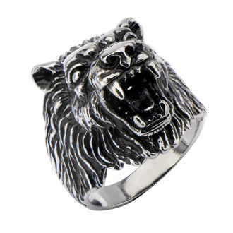 prsteň INOX - BIG WOLF BLACK, INOX
