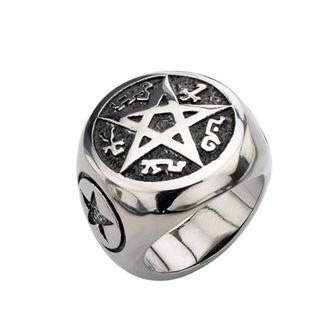 prsteň INOX - BLK PENTAGRAM, INOX