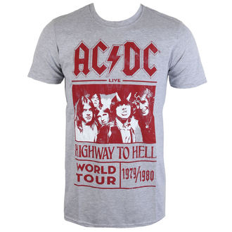 tričko pánske AC/DC - Highway To Hell World Tour 1979/80 - Grey - ROCK OFF - ACDCTTRTW01MG