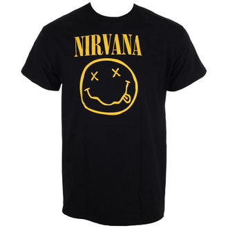 tričko pánske Nirvana - Smiley Logo - Black - LIVE NATION, LIVE NATION, Nirvana