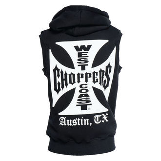 vesta pánska West Coast Choppers - IRON CROSS SLEEVELESS HOODY - BLACK, West Coast Choppers