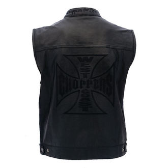 vesta pánska West Coast Choppers - OG CROSS LEATHER RIDING - BLACK, West Coast Choppers